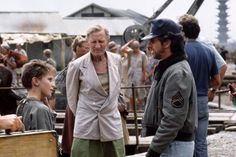 The China Odyssey: 'Empire of the Sun', a Film by Steven Spielberg (1987). http://cinephilearchive.tumblr.com/post/59975088633/steven-spielberg-with-christian-bale-and-the-crew