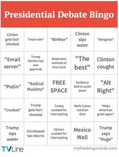 UNLV Presidential Debate Bingo Card