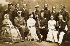 Tsar Alexander III & Marie Feodorovna and brother with high standing members of the court. Seated left to right: Mistress of the wadrobe Princess Juliya Kurakina, Tsarevich Alexander Alexandrovich, Tsarevna Maria Feodorovna, Grand Duke Alexei Alexandrovich, lady in waiting Alexandra Kurakina. Standing: 2nd from left artist & teacher Alexis Bogolyubov; 3rd from left, law teacher Konstanin Pobedonostzev, 6th from left, the Tsarevna's secretary Feodor Oom; 7th from left aide de camp Paul Kozlov
