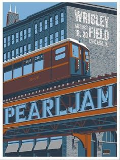 Title: Pearl Jam Poster artist: Steve Thomas Edition: Show Year: 2018 Type: Limited edition screen printed poster Size: Location: Chicago, IL Venue: Wrigley Field Chicago Tours, Chicago Style, Tour Posters, Band Posters, Music Posters, Event Posters, Screen Print Poster, Poster Prints, Pearl Jam Chicago