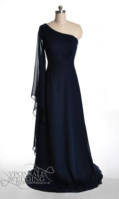 Long Dark Blue Bridesmaid Dress with Single Sleeve DVW0074