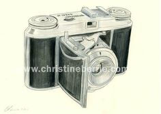 Vintage Camera  original drawing by ChristineBerrie on Etsy