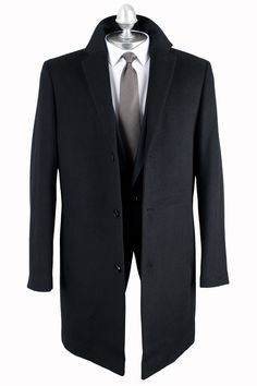 Mens wool rich black, single breasted Epsom overcoat by Blazer with notch collar, three buttons, two pockets and a centre rear vent