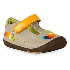 8bdbed346271c0 These MomoBaby T-strap shoes with colorful caterpillars and a bright yellow  strap protect your