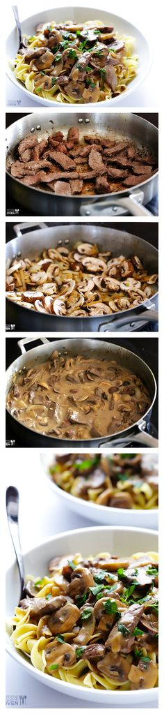 Beef Stroganoff Beef Stroganoff by gimmesomeove: A classic comfort food dish that's lightened up and ready to go in 30 minutes.Beef Stroganoff by gimmesomeove: A classic comfort food dish that's lightened up and ready to go in 30 minutes. Easy Pasta Recipes, Meat Recipes, Cooking Recipes, Dinner Recipes, Recipies, Oven Recipes, Sirloin Recipes, Kabob Recipes, Fondue Recipes