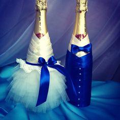 Оформление шампанского в синем