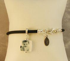 B21 - Mini Photo Charm on a Black Rubber Cord Bracelet - Handmade Photo Jewelry. $73.00, via Etsy.