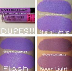 "Dupe alert: NYX liquid suede liquid lipstick in ""Sway"" $6 (found at Ulta) vs Jeffree Star Cosmetics liquid lipstick in ""Blow Pony"" $18"