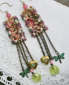 Tapestry - Textile Bead Embroidery Earrings with Vintage Charms