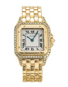 This is a pre-owned Cartier Panthere 88840000. It has a 28mm Yellow Gold set with Custom Diamonds case, a Silver Roman Numeral dial, a Yellow Gold bracelet, and is powered by a Quartz movement.