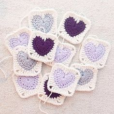 Granny Heart Square Ravelry: Granny Heart Square pattern by Kelsey Barros Crochet Afghans, Crochet Heart Blanket, Crochet Squares Afghan, Crochet Blocks, Crochet Blanket Patterns, Crochet Cushions, Crochet Pillow, Afghan Patterns, Knitting Patterns