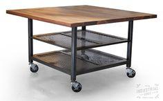 Dining Table, Kitchen Cart, Kitchen Island, Industrial Kitchen Island, Custom Walnut & Steel Dining Tabl