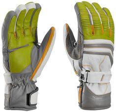 LEKI Fuse Retro S Ski Glove - Lime/White/Graphite Medium. Comfort Fit design. Premium goatskin body and palm. Silicone Nash reinforced thumb and index finger. 100% Primaloft insulation. Makes Dry liner.