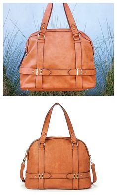 Camel bowler bag with detailed hardware, zipper closure, front zipper pocket, top handles and removable shoulder strap