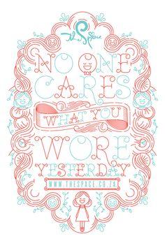 NO ONE CARES WHAT YOU WORE YESTERDAY - BAG DESIGN by Hylton Warburton, via Behance