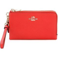 Coach Zipped Wristlet (2 245 UAH) ❤ liked on Polyvore featuring bags, handbags, clutches, red, coach purses, red leather wristlet, wristlet purse, coach handbags and wristlet clutches