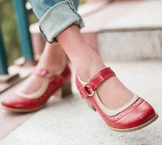 Girls Retro Vintage Sweet Cuban Heel Mary Jane Synthetic Leather shoes red US6