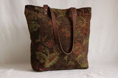 Shoulder bag chenille with leather handles by OliveandMink on Etsy