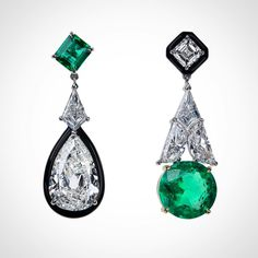 Nikos Koulis (@nikoskoulisjewels) on Instagram: #oneofakind Oui Collection mismatched earrings with white diamonds and emeralds. #nikoskoulisjewels