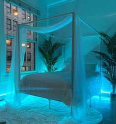 All white bedroom with plants and leds Neon Bedroom, Room Design Bedroom, Girl Bedroom Designs, Room Ideas Bedroom, Bedroom Decor, Master Bedroom, Canopy Bedroom, Bedroom Signs, Bedroom Styles