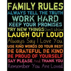 I pinned this Family Rules Wall Art in Rainbow II from the All I Want for Christmas event at Joss and Main!