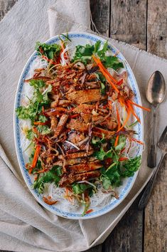 Vietnamese noodle salad with pork chops has fantastic texture and flavor. Add the spicy, garlicky, tangynuoc chamsauce is the dish is absolute perfection!