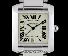 Cartier 18k White Gold Silver Guilloche Dial Tank Francaise Gents Box & Papers #Cartier #WhiteGold #Silver #Tank #Francaise #Gents #Luxury #Wristwatch #Timepiece #WatchCentre #NewBondStreet #Mayfair #London
