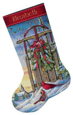 Dimensions Needlecrafts Counted Cross Stitch, Christmas Sled Stocking