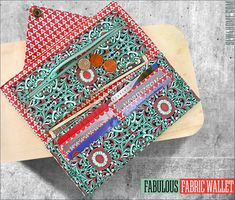 Fabulous Fabric Wallet: Double Bill Pockets, Six Card Pockets & Zippered Coin Pocket Fabric Wallet, Diy Wallet, Fabric Pen, Wallet Tutorial, Fabric Boxes, Pocket Pattern, Wallet Pattern, Free Pattern, Bag Patterns To Sew