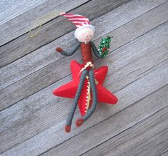 1950s Ornament Elf Riding Star  Flocked by MintysMercantile