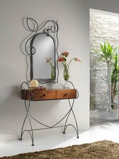 Inspiring mirror designs that will bring luxury to your home! These mirrors combined with a modern console table are the perfect combination. Iron Furniture, Home Furniture, Home Interior Design, Interior Decorating, Modern Console Tables, Iron Decor, Dresser With Mirror, Easy Home Decor, Decoration