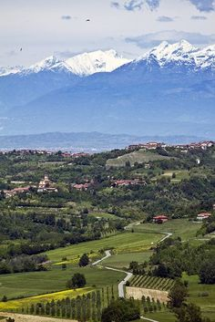 Landscape with hills & mountains, Piedmont, Italy