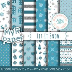 """#Christmas Digital Paper Pack: """"Let It Snow"""" Silver Glitter & Shades of blue #Xmas Digital Paper – printable - x-mas shabby paper 50% OFF ON ORDERS OVER 12 $ (OR NEARLY 12 €... #patterns #design #graphic #digitalpaper #scrapbooking #christmas #xmas #holidays"""