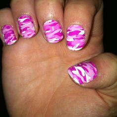 My pink camo nails :) I love Sally Hansen nail strips
