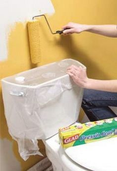 Putting a plastic sealing material around fixtures instead of tape and paper can save prep time