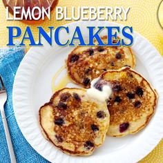 Lemon and blueberry come together to form the perfect flavor pairing in these light and airy pancakes.