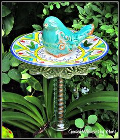 Turquoise Bird Garden Totem Stake  As by GardenWhimsiesByMary, $35.00
