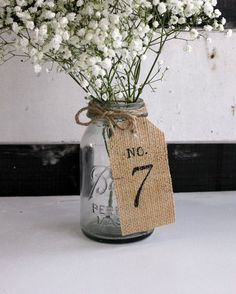 burlap table number on mason jar