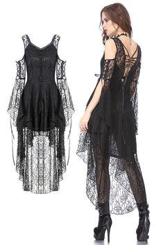DW166 Black Gothic Elegant Lace High-Low Dress