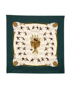 Hermes Dark Green Silk 'Traite Des Armes' 35in Vintage Scarf #HERMS #Scarf
