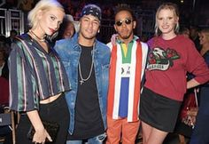 Poppy Delevingne, Neymar, Lewis Hamilton and Lara Stone at the Tommy Hilfiger catwalk show.