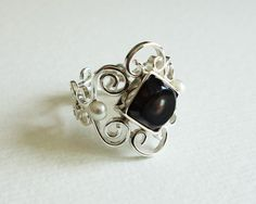 Sterling silver ring with pearls Design&Handmade in Poland by bizutheria