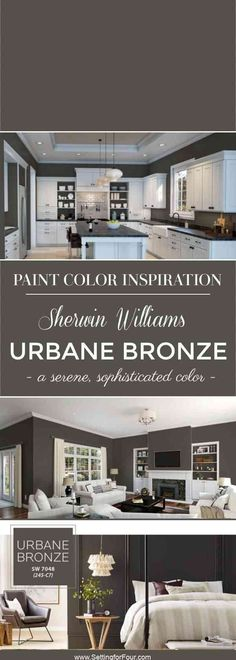 Color Of The Year 2021 Sherwin Williams Urbane Bronze SW 7048: undertone and what rooms it looks amazing in! See it in real spaces and the colors to pair it with! #paint #color #coloroftheyear #decor