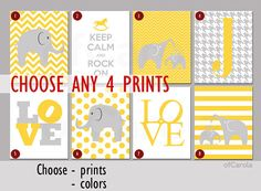 Nursery Prints Kid Personalized Wall Art - CHOOSE ANY FOUR prints - Kids Elephant Print, Choose Colors - Yellow Grey White Colors, 8x10 inch on Etsy, $57.22 AUD