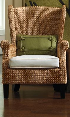 Our exclusive Santino Wing Chair is an unconventional update to the classic high-back wing chair. Naturally durable seagrass and rattan are hand-woven in a beautiful herringbone pattern that covers the seat, arms, and the back of the wingback; the same weave covers the entire seat of the ottoman.