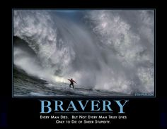 BRAVERY - Every man dies. But not ever man truly lives only to die of sheer stupidity.