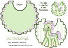 Little green pony with pink mane on striped bib on Craftsuprint - Add To Basket!