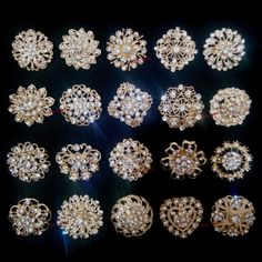 Bulk Gold Crystal Women Flower Brooch Pin Wedding Bouquet Wholesale Lot New, with pin on the back, Gold plated, Size: diametre about to Mixed styles, same as the image shows. Wedding Wishes, Wedding Favors, Wedding Ideas, Flower Brooch, Brooch Pin, Wholesale Party Supplies, Wedding Brooch Bouquets, Buy Earrings, Platinum Wedding