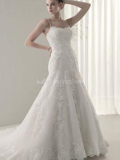 A-Line Satin Organza Spaghetti Straps Sleeveless Wedding DressesWholesale Price: US$180.99