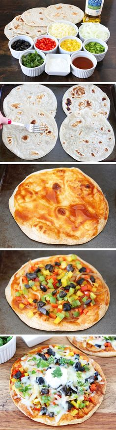Open-Faced Enchilada Quesadillas | Recipe By Photo  Use low carb tortilla shells